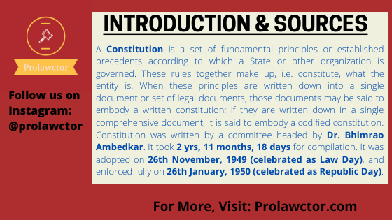 Introduction & Sources: Indian Constitution Law Notes- Prolawctor