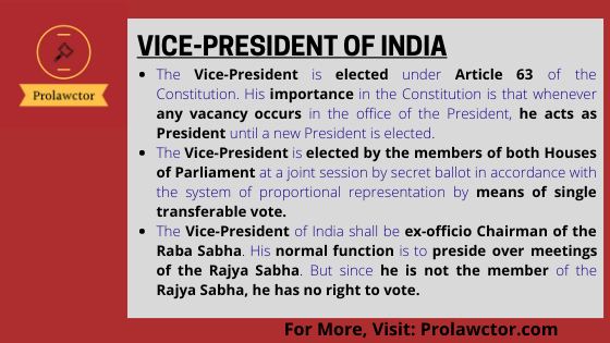 UNION EXECUTIVE: VICE-PRESIDENT OF INDIA - Prolawctor