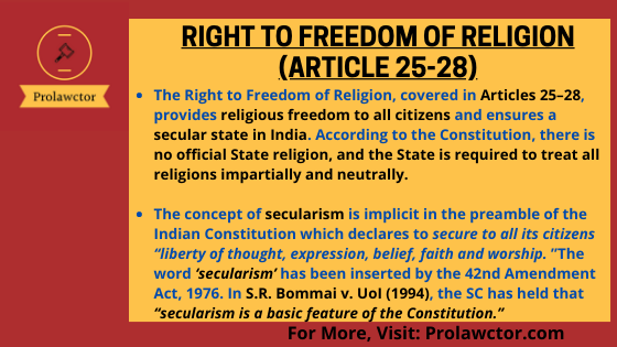 Right To Freedom Of Religion (Article 25-28): Constitutional Law Notes- Prolawctor