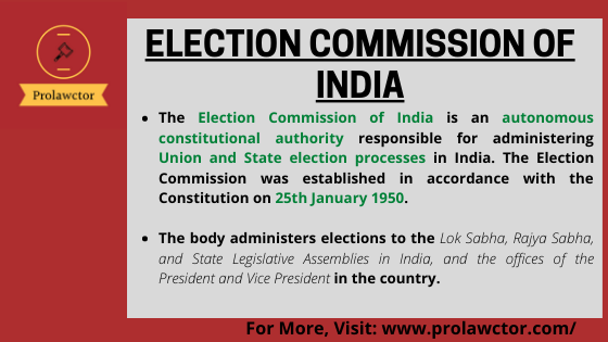 Election Commission Of India: Constitutional Law - Prolawctor
