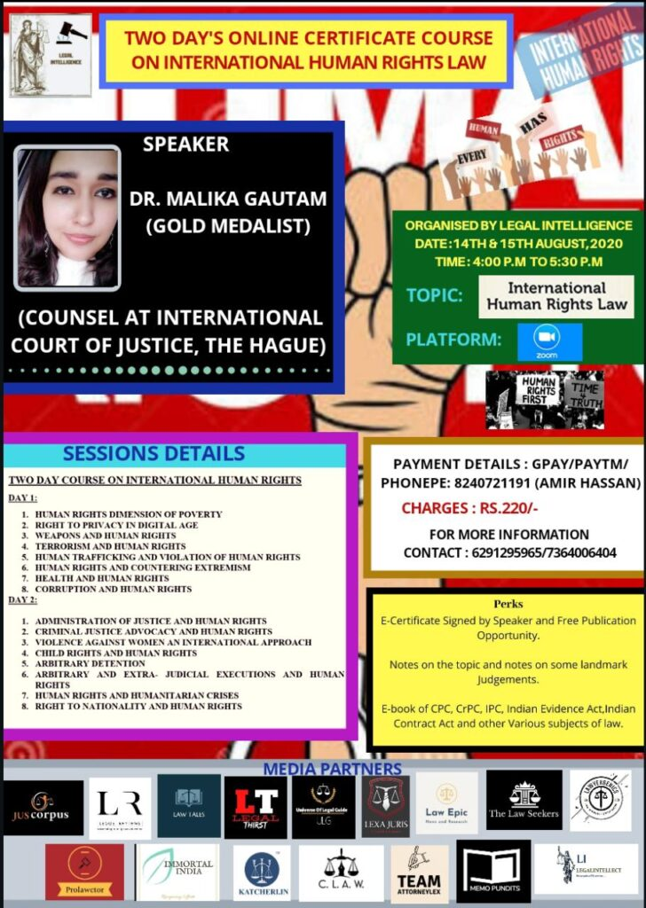 Two Day's Online Certificate Courses On International Human Rights Law - Prolawctor