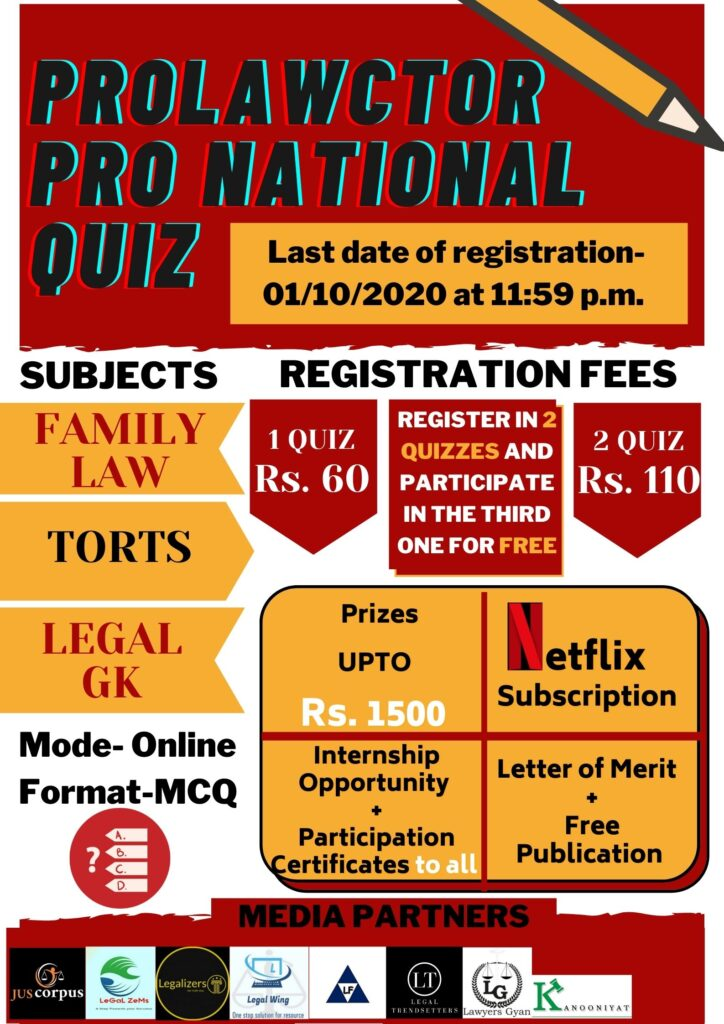 Prolawctor Pro National Quiz on Family Law And Law of Torts   Register Now !!